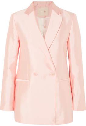 Maje Vasila Double-breasted Satin Blazer - Pink