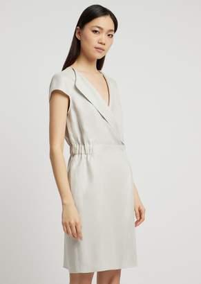 Emporio Armani Dress In Linen Gabardine With Lapels