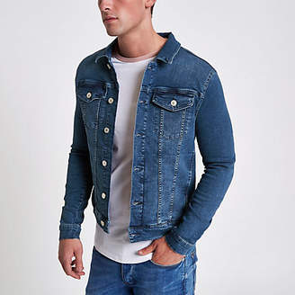 River Island Blue stone wash muscle fit denim jacket