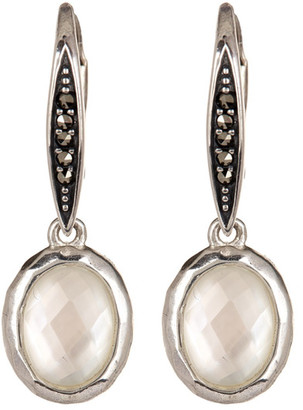 Judith Jack Sterling Silver Swarovski Marcasite & White Mother of Pearl Drop Earrings $98 thestylecure.com