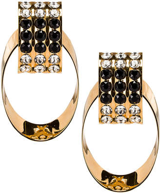 Saint Laurent Crystal Oval Earrings in Gold & Black | FWRD
