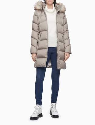 Calvin Klein Faux Fur Hood Longline Puffer Coat