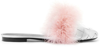 Marco De Vincenzo - Feather-embellished Woven Metallic Leather Slippers - Silver $985 thestylecure.com