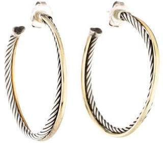 David Yurman Two-Tone Crossover Oval Hoop Earrings