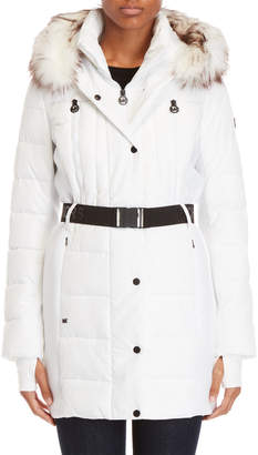 MICHAEL Michael Kors Belted Faux Fur Trim Hooded Coat