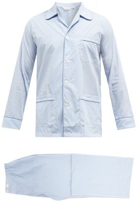 Derek Rose James Striped Cotton Pyjama Set - Mens - Blue