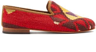 ARTEMIS DESIGN SHOES Tribal-patterned woven Kilim and leather loafers