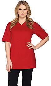 Denim & Co. Essentials Short Sleeve OversizedV-neck T-shirt