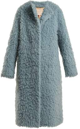 Roksanda Textured Camel Hair Coat - Womens - Light Blue