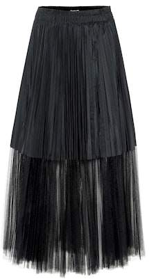 Brunello Cucinelli Pleated tulle-trim midi skirt