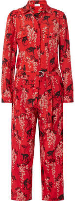 RED Valentino Printed Silk-crepe Jumpsuit