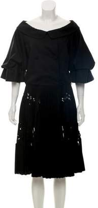 Valentino Pleated Midi Dress Black Pleated Midi Dress