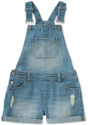 Calvin Klein Denim Overall Shorts, Big Girls (7-16) $48 thestylecure.com