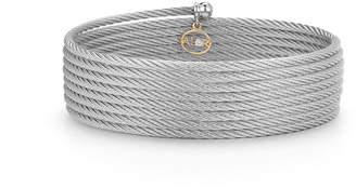 Alor Classique Cable Wrap Bracelet w\/ Diamond Charm Gray