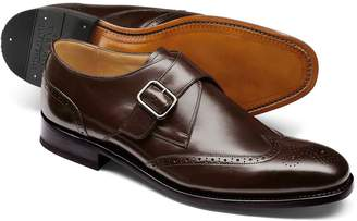 Charles Tyrwhitt Chocolate Goodyear Welted Brogue Monk Shoe Size 12
