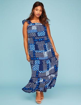 Printed Ruffle Peasant Maxi Dress