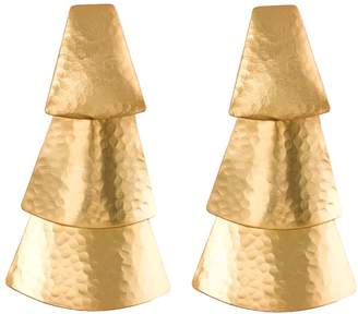 Josie Natori Hammered Gold Triangle Earrings
