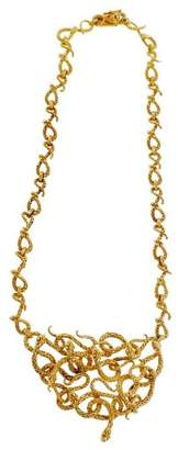 18K Yellow Gold Snake Pendant Necklace