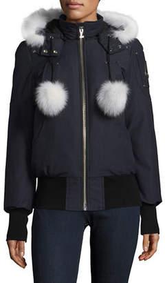 Moose Knuckles Debbie Down Bomber Coat with Fox Fur Trim