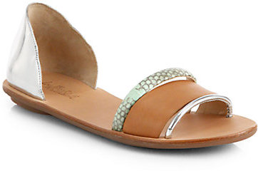 Loeffler Randall Aggie Mirrored Leather & Snakeskin d'Orsay Sandals