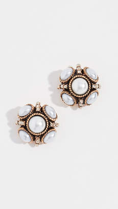 Oscar de la Renta Classic Button Earrings