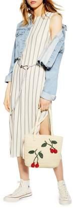 Topshop Plisse Striped Midi Dress