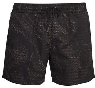 Bottega Veneta Intrecciato Print Swim Shorts - Mens - Black Multi