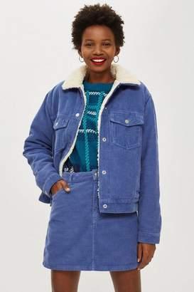 Topshop Corduroy Blue Borg Jacket