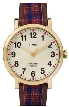 Timex R) 'Originals' Leather Strap Watch, 44mm