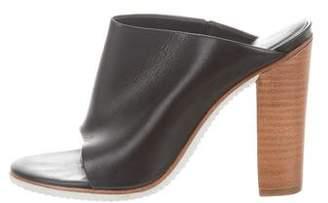 Tibi Leather Peep-Toe Mules
