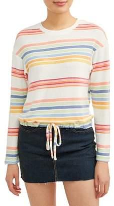 Self Esteem Juniors' Striped Drawstring Waist Long Sleeve T-Shirt