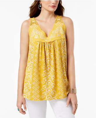 Style&Co. Embroidered Sleeveless Top, Created for Macy's