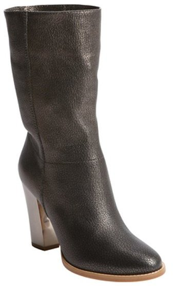 Jimmy Choo bronze grainy calf leather silvertone heel boots