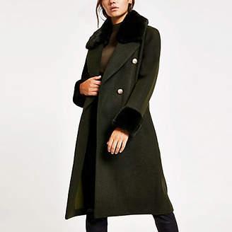River Island Petite khaki faux fur trim belted coat