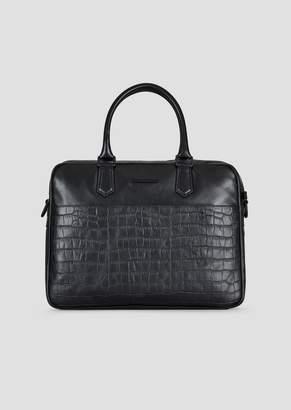 Emporio Armani Smooth And Croc Print Leather Briefcase