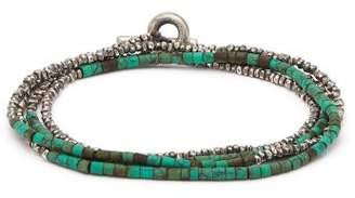 M. Cohen Horizon Bead Embellished Silver Bracelet - Mens - Blue Multi