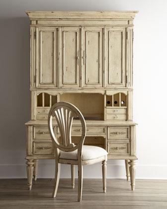 Antique-White Desk, Hutch & Chair