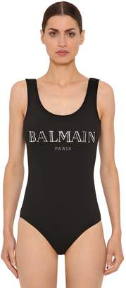 Balmain 3d Shiny Logo Cotton Jersey Bodysuit