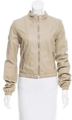 BCBGMAXAZRIA Leather Collarless Jacket
