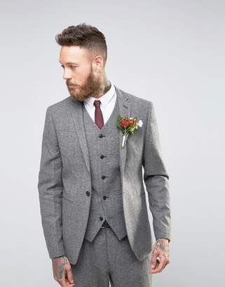 Asos Wedding Slim Suit Jacket In Grey Tweed