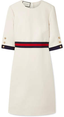 Gucci Grosgrain-trimmed Wool And Silk-blend Cady Dress - Ivory