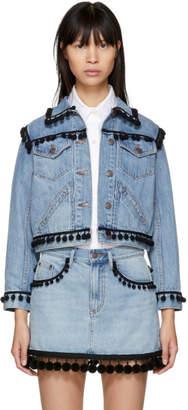 Marc Jacobs Indigo Denim Shrunken Pom Pom Jacket