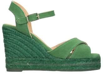 Castaner Blaudell Green Canvas Wedge Sandals