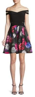 Xscape Evenings Off-Shoulder Floral Contrast Dress