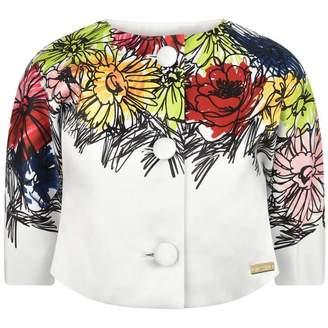 Moschino MoschinoGirls Ivory Flower Print Satin Jacket