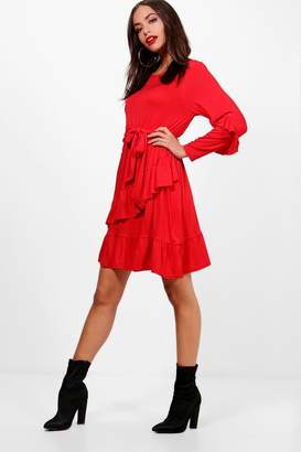boohoo Micro Frill Belted Skater Dress