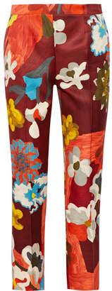 Prada Printed Wool And Silk-blend Straight-leg Pants - Merlot
