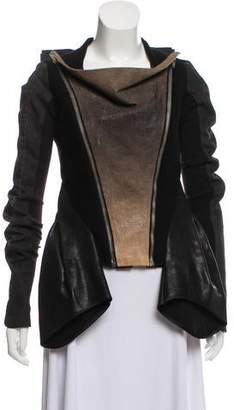 Rick Owens Cashmere-Blend Leather-Trimmed Jacket