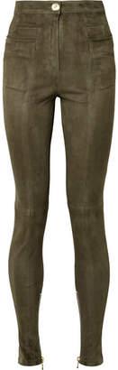 Balmain Suede Skinny Pants - Army green