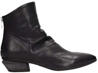 Officine Creative Salom? Black Leather Ankle Boots